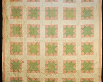 1950s American Eight Point Star Quilt Machine Sewn And Hand Quilted 78 x 68
