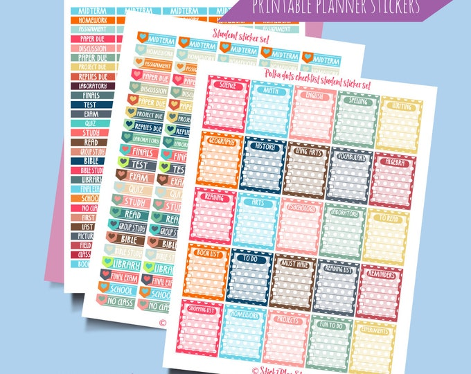 Student Organization Printable Planner Stickers. Instant Download Digital Printable Stickers. School Student Planner Stickers