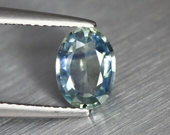 1.453ct Unique Earth Mined Nr!! Certified Unheated Ceylon Greenigh Blue Sapphire