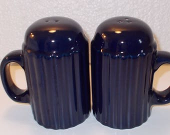 """Dark Blue Salt and Pepper Shakers with Handles...Glass 4 1/4"""" High"""