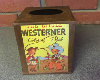 Cowboy western tissue holder for kids