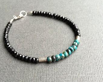 Turquoise & Black Spinel Bracelet, Gemstone Bracelet, Boho Chic, Minimal Everyday Casual, Green and Black, Hill Tribe Silver, Sunburst Bead