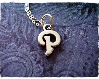 Silver Cursive P Initial Necklace