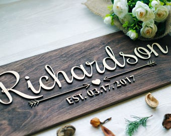 Family Name Sign Wood, Last Name Wood Sign, Wall Art, Anniversary Gift, Wedding Gift, Family Established Sign, Personalized Family Sign #1