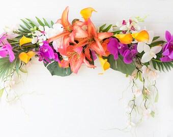 Wedding Arch Tropical Garland Swag Garland - Lilies Orchids & Callas Silk Arrangment Orange Fuchsia or YOUR COLORS Wedding Gazebo