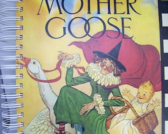 Mother Goose nursery rhymes vintage book journal diary planner altered book scrapbook smashbook