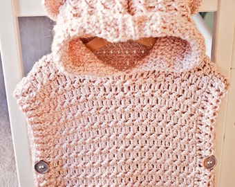 Crochet Pullover PATTERN  - Hooded Poncho - Pullover (sizes from 1-2y up to Adult XL) - Instant download