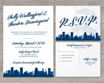 Printable Baltimore Invitation Wedding Party Special Event Flat Other Cities available City Skyline Maryland Hometown Travel