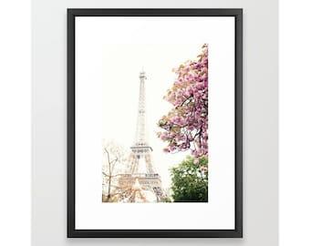 Fard à joues art mural rose, art de la fleur de cerisier, photographie de Paris, art mural extra-large, art mural Paris, art mural encadré, art toile art mural