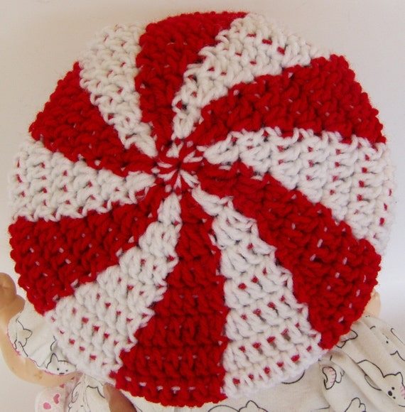Crochet Pattern For Peppermint Swirl Candy Tam Hat Toddler And