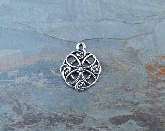 Celtic Filigree Quatrefoil Pendant Pewter C117,celtic pendant,celtic knot pendant,filigree pendant,celtic cross pendant,quatrefoil pendant