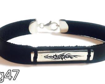 Tribal - black leather and silver 925 - bracelet for men
