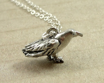Crow Raven Necklace, Silver Plated Crow Charm on a Silver Cable Chain