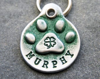 St Patricks Day Shamrock Dog Tag for Collar - Pet Tags - Gifts for Dog Lovers - Custom Pet ID Tag - Hand Stamped Dog Tags