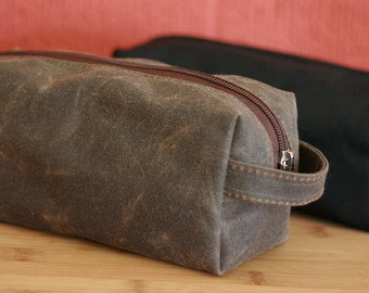 Waxed Canvas Water Resistant Dopp Kit -- Small