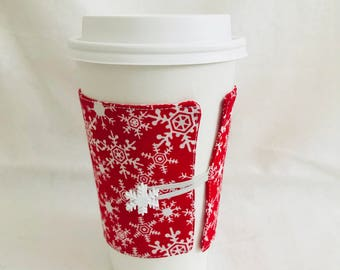 Red snowflake holiday coffee cozie