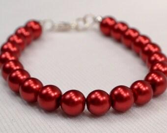 Red Pearl Bracelet, Cherry Red Bracelet, Red Bracelet, Red Bead Strand Bracelet, Rich Red Pearl Bead Strand Bracelet (B129)