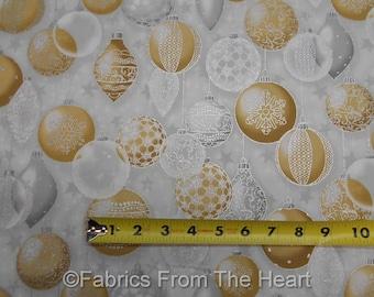 Winter's Graundeur Christmas Metallic Silver Gold Balls BY YARD RK Cotton Fabric