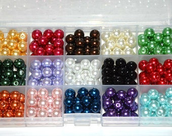 1 box of 270 beads glass Pearl 10mm to 15 compartments mix color (18 of each color)