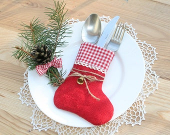 Christmas Silverware Holder, Table Decor, Burlap Christmas Silverware, christmas decorations, christmas stocking, christmas table Silverware