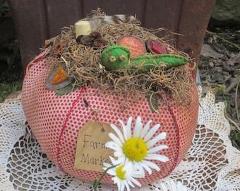JUNK TOMATO GARDEN~ Farmhouse Decor~ Nest~ Farmer's Market~ Vegan~ Vegetable~ Tomato Pin Cushion~ Repurposed~ Up cycled
