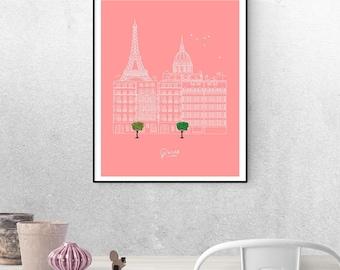 Paris Skyline, Paris Artwork, Paris Cityscape, Paris Poster, Paris Printable, Paris City Print, Parisian Art, Parisian Decor, Etching Prints