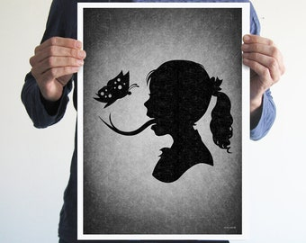I love butterflies,digital print,art,wall decor,home decor,silhouette,black and white,gothic art,goth,victorian,horror,poster,print,skulls