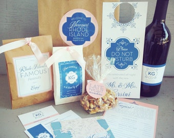 Wedding Guest Welcome Bag with Paper Bag & Accessories - 10 Design Options, Custom Colors