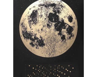 Moon Phase Calendar, moon calendar 2018, full moon calendar, wall calendar, Gold Wall Calendar, lunar calendar 2018, silver gold copper art