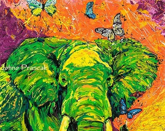 Elephant print, Elephant art, Elephant with Butterflies, Inspirational art, Hope, Johno Prascak, Johnos Art Studio