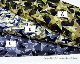 Camo Stars Mix Fabric~by the 1/2 yd or yard~Camouflage~3 Prints~Stars~Kanvas Srudio~cotton