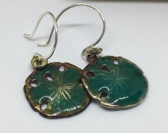 Torch Fired Enamel Transparent green Sand Dollar Earrings