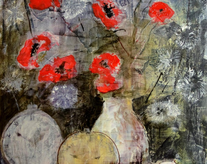 "Featured listing image: Poppies and dandelions Watercolor + acrylic 12""x18""/ 33x47cm"