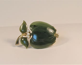 Jade and Gold tones apple brooch