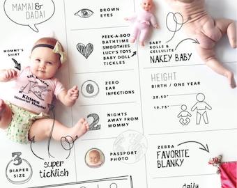 LARGE custom designed one year baby infographic, digital file