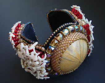 "Bead Embroidery Cuff   ""sea hedgehog""  Bracelet"