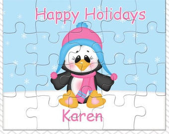 Penguin Girl Personalized Puzzle, Personalized Peguin Puzzle, Personalized Kids Puzzle