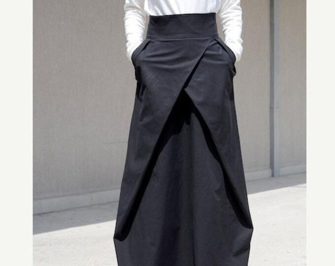 Featured listing image: floor length skirt, High Waisted Skirt, prom long skirt, Oversized Skirt, Long Length Skirt, maxi skirt pockets, Black Maxi Skirt