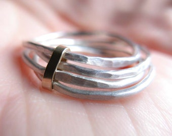 Stacking Sterling Silver Rings wrapped in 14K Solid Gold, hammered organic rings, delicate ring set