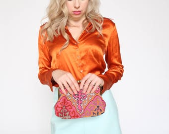 PINK Embroidered Vintage Clutch Purse with Multi-coloured Pattern
