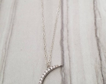 Sterling silver crescent moon with cubic zirconia
