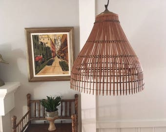 Vintage Mid Century Modern Bamboo/Wicker Swag Lamp Shade/brass/Franco  Albini Style