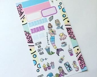 Mermaid TN/Dori Planner Sticker Weekly Set - travelers notebook, faux dori