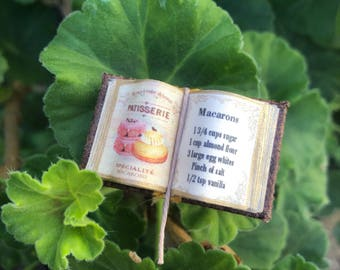 Macarons Cook Book w Cream Puff - Open Book (Small) - Dollhouse Miniatures