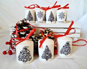 Christmas Candles-Xmas tree with rhinestones