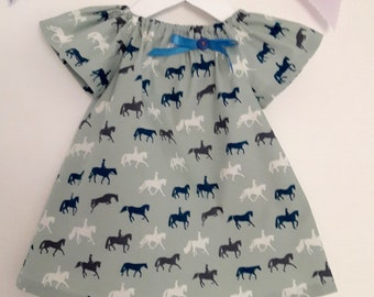 Cute smock summer dress with horse print and bow and button