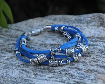 Blue Suede, Leather Bangle Bracelet, Bangle Bracelet