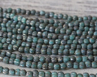 3mm Melon Bead - Czech Glass Beads For Jewelry Making - Turquoise Bronze Picasso - Choose Amount