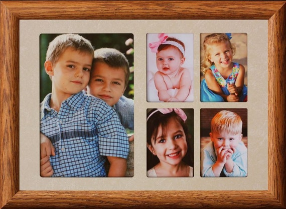 7x10 5-Opening Collage Photo Frame w/Cream Mat and Frame ~ Holds a ...