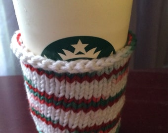 Hand knitted travel mug cozy